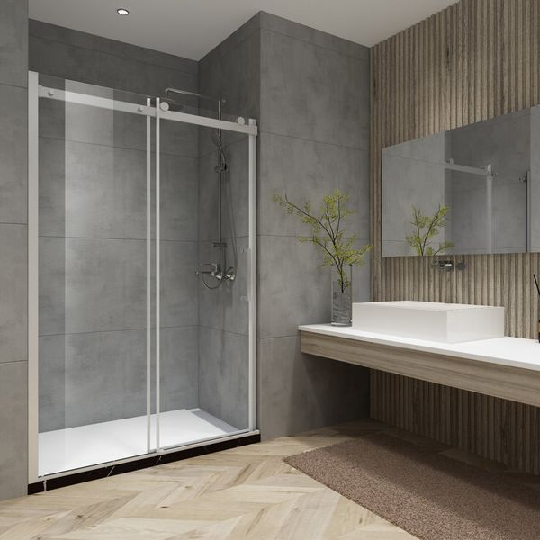Elegant simplicity is the hallmark of the Vinnova Rovigo Shower Enclosure Series. This enclosure offers a clean, frameless look beautifully accented by metallic fittings. Its roll-top design is engineered for smooth, quiet performance, use after use. The tempered glass door is specially coated to stay clean longer. Roll-top single sliding door 8mm clear glass with easy-clean coating Shower door available in Polished Chrome or Brushed Nickel finish Stainless steel top roller and wall fitting part