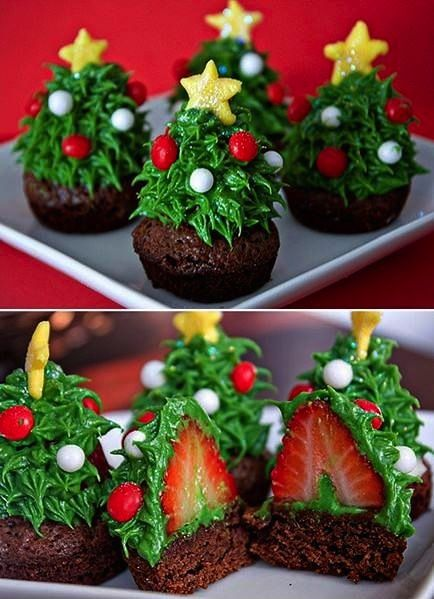 Christmas Cupcake Decorating idea.  Shame strawberries are not in season at Christmas in my part of the world.. :(