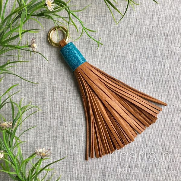 Cognac leather tassel with Turquoise top