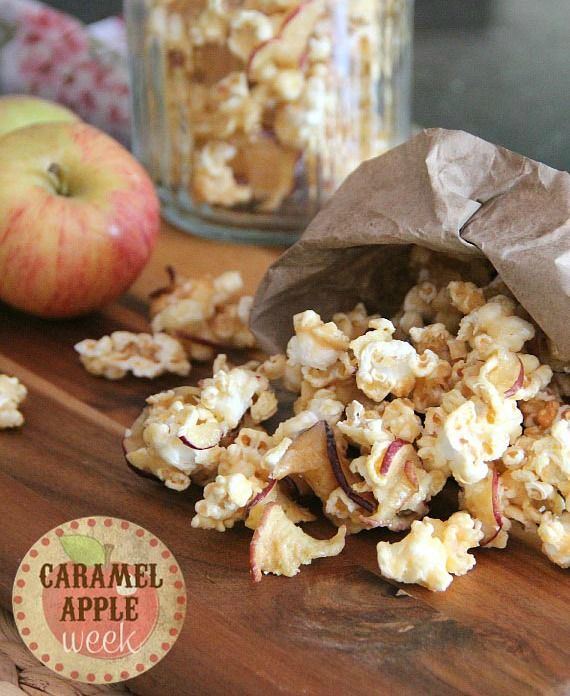 Caramel Apple Popcorn:  Ingredients  1 cup unpopped corn kernels 2 (2.5 oz) bags of apple chips 1 cup light brown sugar 1 cup light corn syrup 1/2 cup butter 1 tsp ...