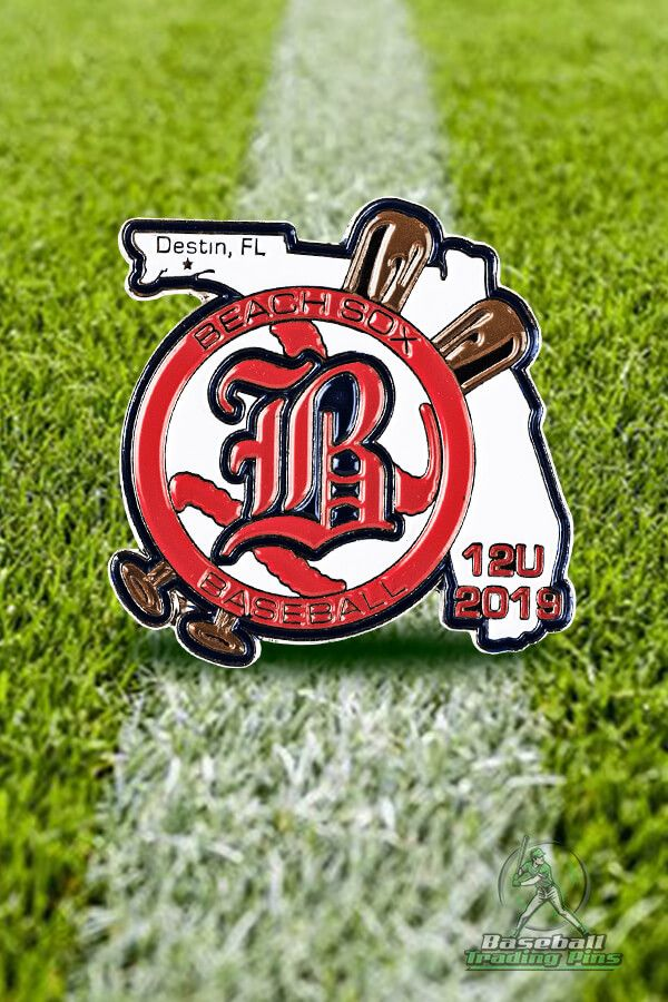 Check out this trading pin design we did for Beach Sox Baseball! Hit a home run this season trading with your baseball trading pins too!