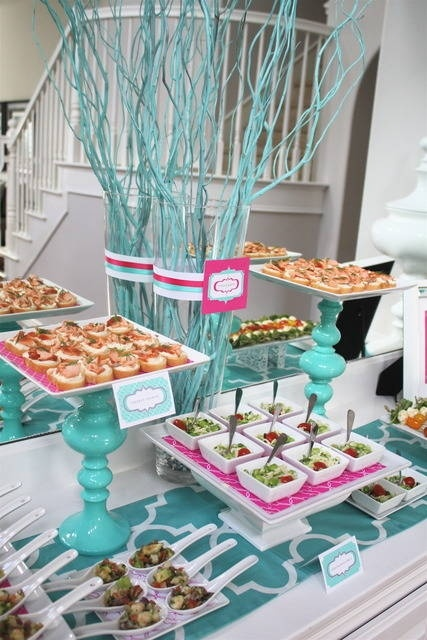 Love the bright colors in this wedding reception appetizer display. The candlest