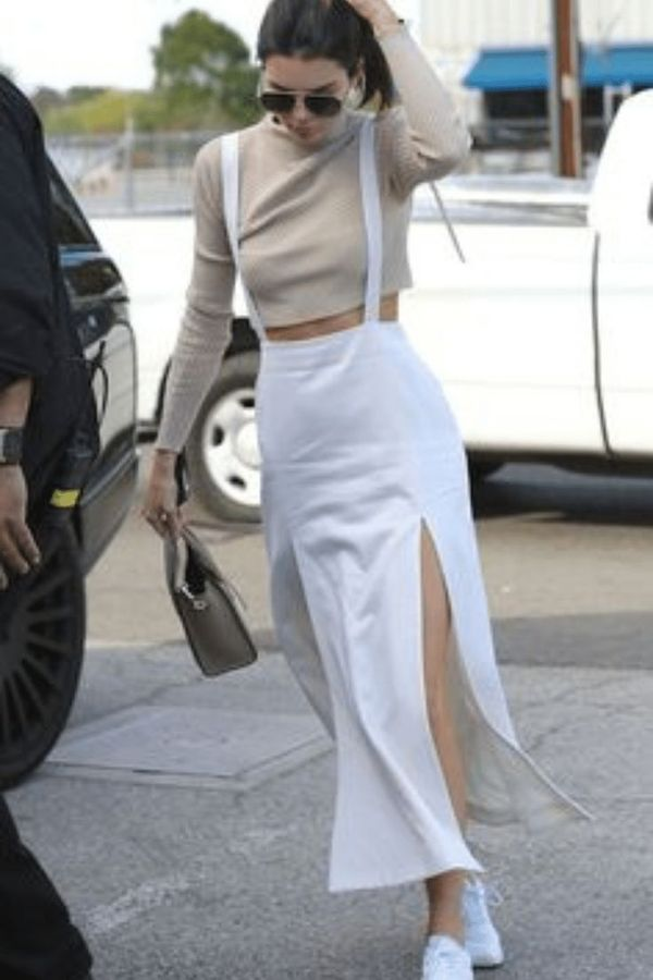 White skirt with straps with two slits in the front, very sexy