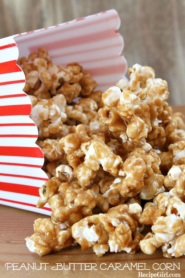 Peanut Butter Caramel Corn - RecipeGirl.com #recipe