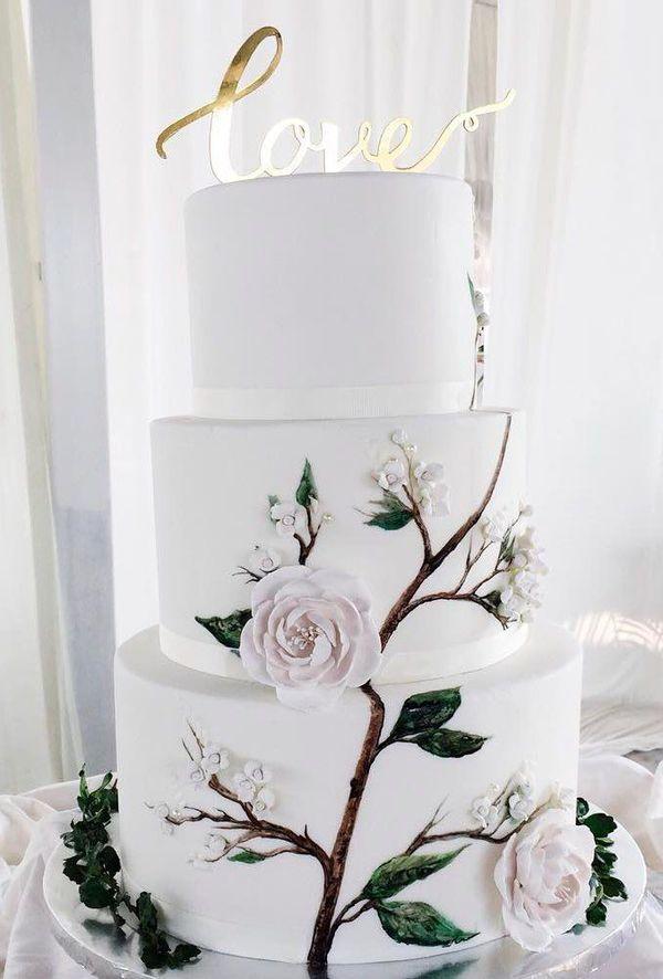 A Catalog Of Stunning And Trendy Hand-painted Wedding Cakes ❤ hand painted wedding cakes golden painted roses #weddingforward #wedding #bride