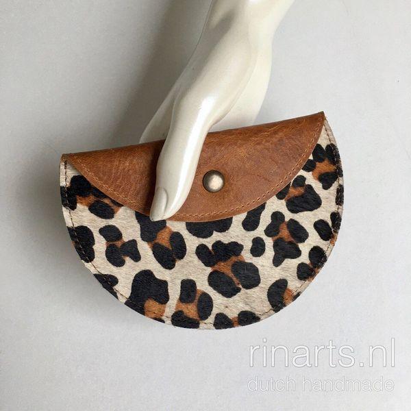 Leopard print circle pouch / leopard half moon purse