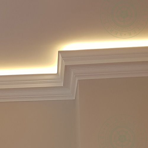 HPS12 Illuminated Cornice is one example of our selection of plain fibrous plaster Georgian Drip designs, created from a combination of cyam recta; cyma reversa; ovolo sections arranged around the drip line and separated from one another with fillet mouldings. This HPS12 Illuminated Cornice is not fixed directly to the ceiling as it offers hidden lighting in the trough to provide the room with a frame of  light.