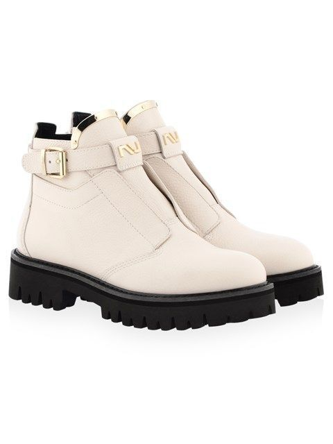 White Leather Buckle Short Boots
