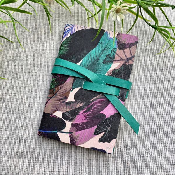Leather travel notebook in pink, turquoise and black