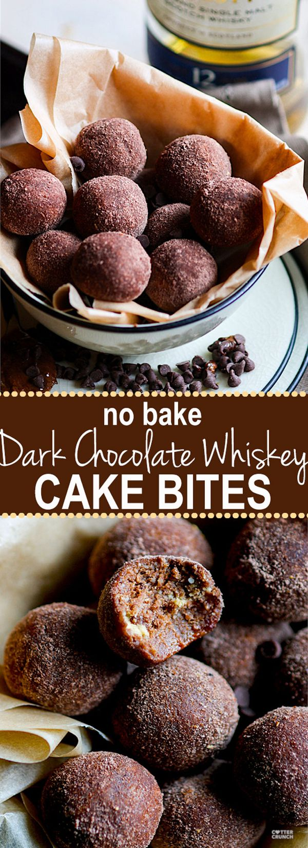 No Bake Dark Chocolate Whiskey Cake Bites!! These rich and decadent dark chocolate whiskey cake bites are so delicious and simple to make with REAL ingredients. Gluten free and non alcoholic versions as well. Great for a healthier dessert or fun party snacks. www.cottercrunch.com!