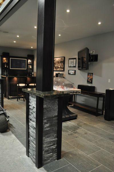 Custom column wrap trim and stone work. www.phoenixmillwork.ca