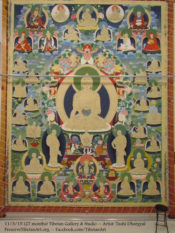 27 month of progress on the ceremonial #thangka (#thanbhochi) at #TibetanGallery Artist: #TashiDhargyal www.preservetibetanart.org