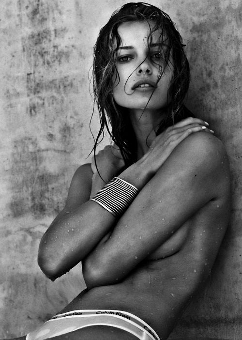 Edita Vilkeviciute by Steven Lyon for Calvin Klein - black and white beach hair editorial