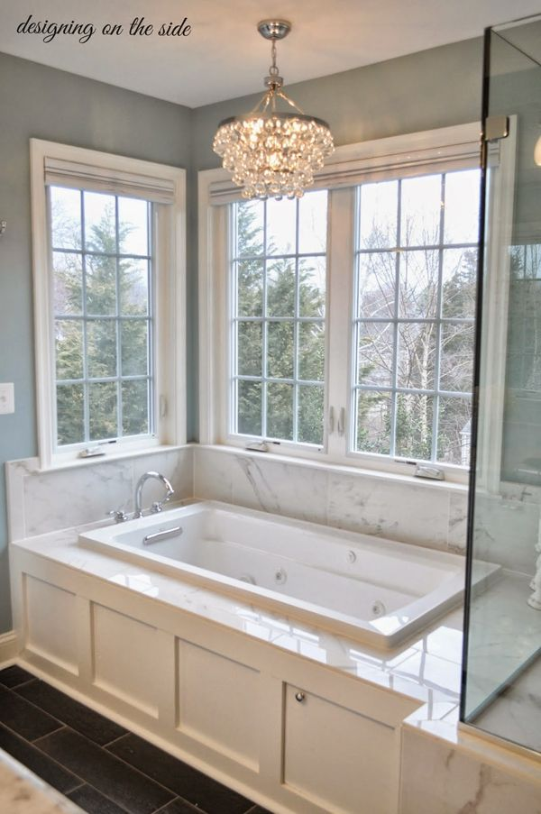 Simple ideas for creating a gorgeous master bathroom. Click to see!  Love the lighting ideas!