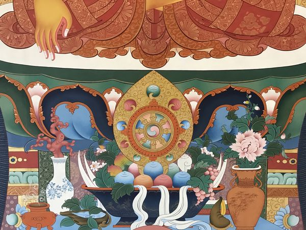 A detail of the offerings to Buddha in the thanbhochi.   #BuddhistArt #Thangka #TibetanArt #TashiDhargyal  #thanbhochi #TibetanGallery #PreserveTibetanArt #ColoringForMeditation  www.TashiDhargyal.com www.ColoringForMeditation.com www.PreserveTibetanArt.org