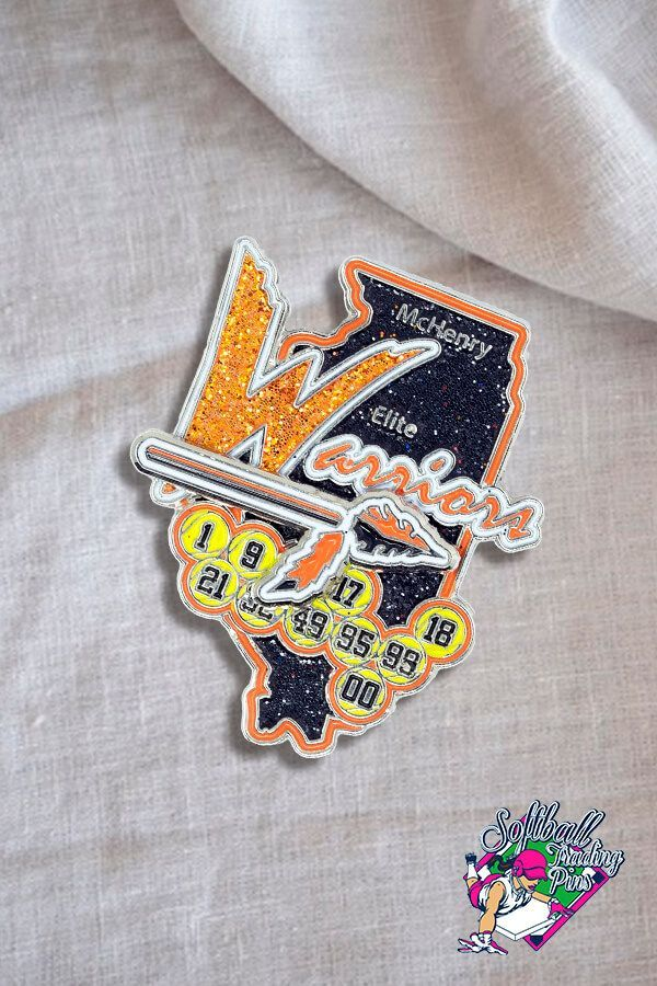 Check out this cool pin we created for the Elite Warriors Softball Team in 2020. 🤘🤘