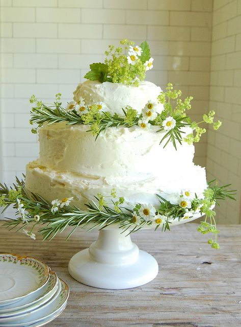 Fresh simple wedding cake