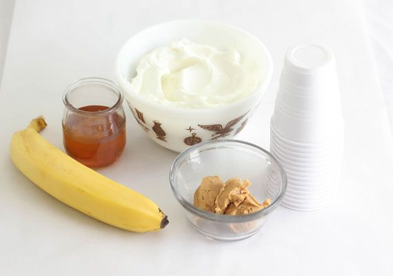 How-Tuesday: Ice Pops for Your Pup You will need: 1 large banana, frozen 2 tablespoons natural peanut butter, without salt or sugar added 2 tablespoons honey 17.6 ounce container plain Greek nonfat yogurt Plastic dog bones or sturdy edible dog chews