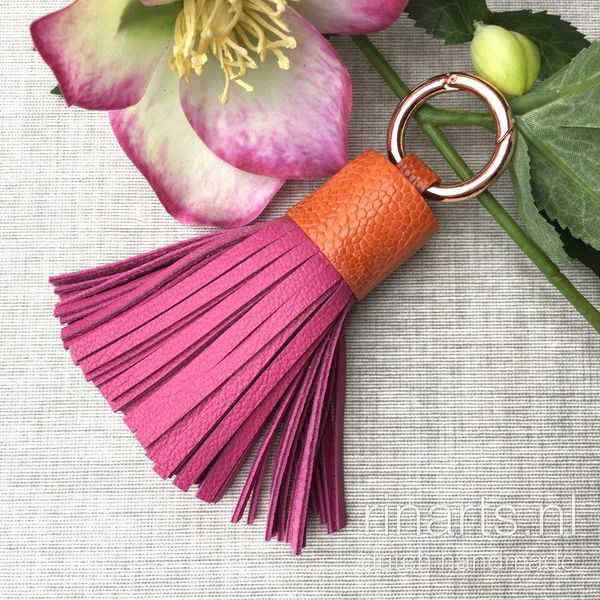 Fuchsia and orange leather tassel