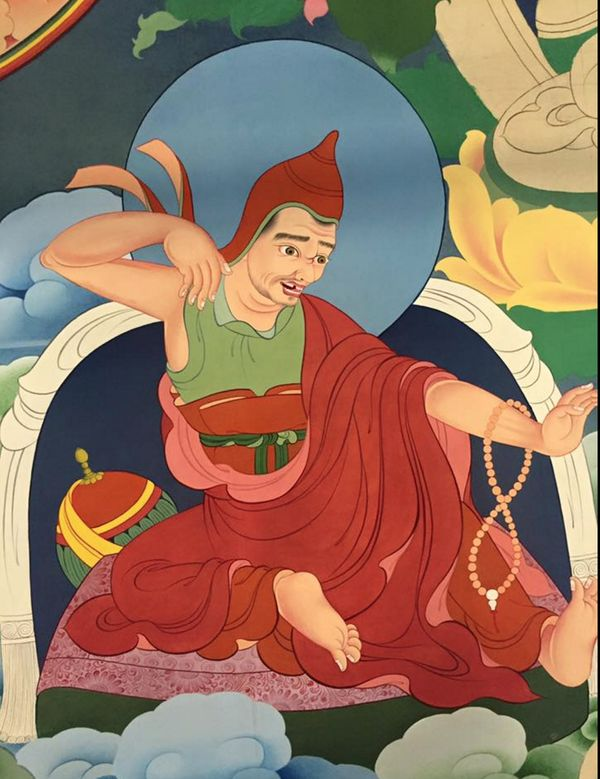 #thanbhochi detail: འཕགས་པ་ལྷ། Aryadeva is one of the six great commentators on the Buddhas teaching, he was a disciple of Nagarjuna and devoted his life to continuing his masters work consolidating the madhyamika tradition. He is also counted among the 84 mahasidhas. Learn more at www.PreserveTibet... #coloringformeditation #NalandaMasters #TibetanArt #TashiDhargyal #thanbhochi #thangka #TibetanPainting #TibetanGallery #PreserveTibetanArt