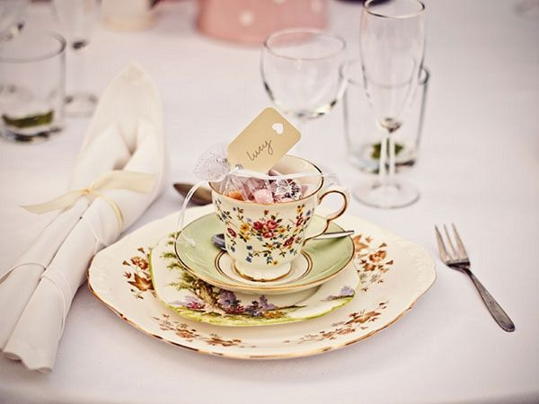 Tea Cup Wedding Favours ... A Simple & Pretty Back Garden Wedding ~ UK Wedding Blog ~ Whimsical Wonderland Weddings