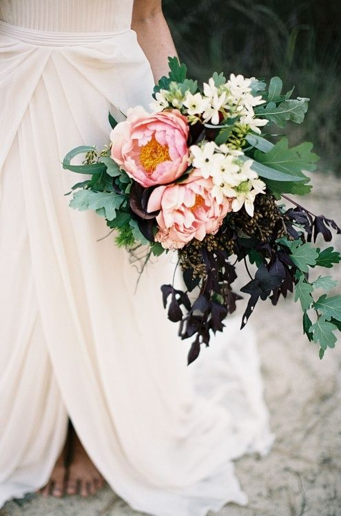 Peonies, dogwood, and dark greenery
