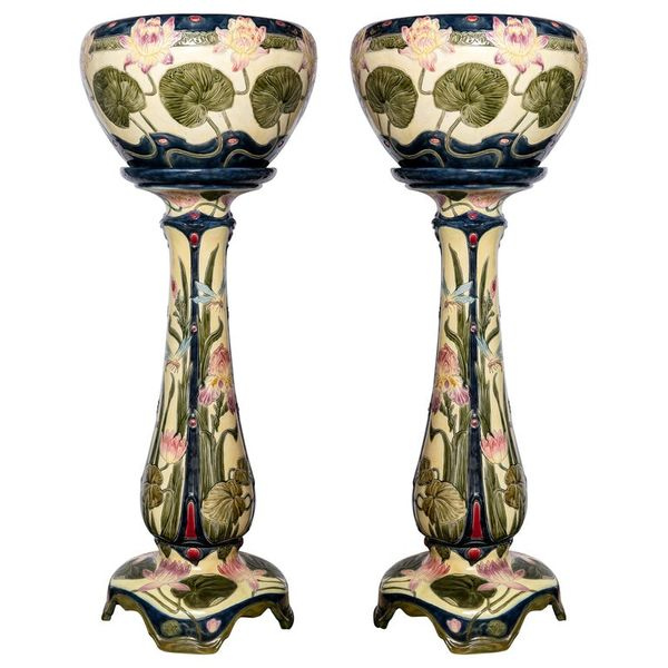 Pair of Enamel Ceramic Planters, Art Nouveau Period, Germany, circa 1900