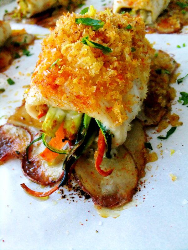 Fish Filet Roll Ups on Shingled Red Potatoes and the Winner of my Giveaway @FoodBlogs