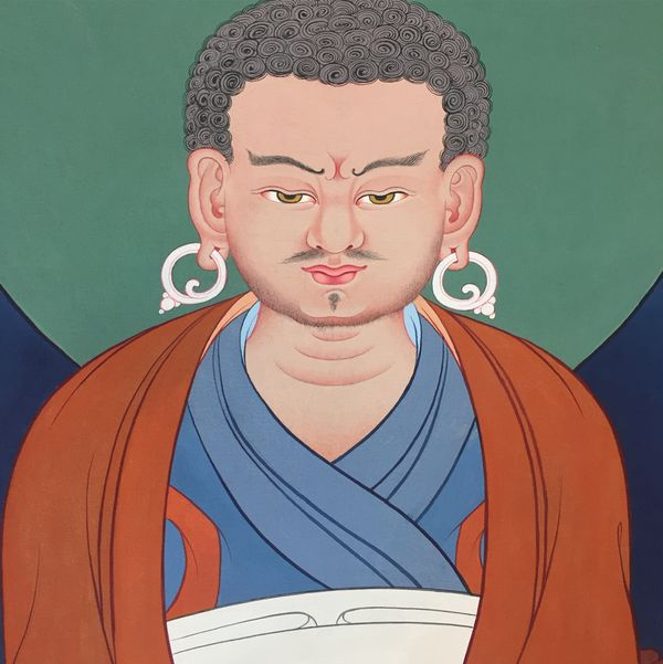 Thanbhochi detail: Marpa Lotsawa (Tib. མར་པ་ལོ་ཙཱ་བ་ཆོས་ཀྱི་བློ་གྲོས་) (1012-1097) was a great Tibetan master and translator, and a disciple of Naropa and other great siddhas. He brought many tantras from India to Tibet and translated them. These teachings were passed down throughMilarepa and his other disciples, and are the basis of the teachings of the Kagyü lineage.  Learn more at Facebook.com/TibetanArt and Instagram.com/TibetanGallery   (Artist: Tashi Dhargyal)  #Buddhism #TibetanArt