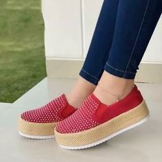 Women Flyknit Fabric Hit Color Slip On Breathable Platform Sneakers