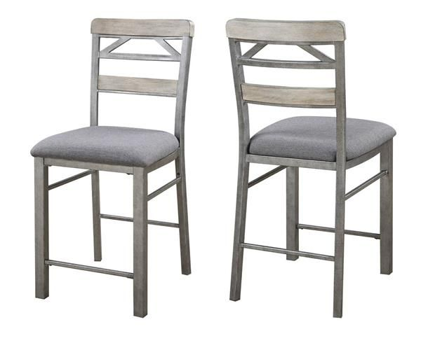 2 Melbourne Craftsman Grey Wood Cushioned Fabric Counter Height Chairs