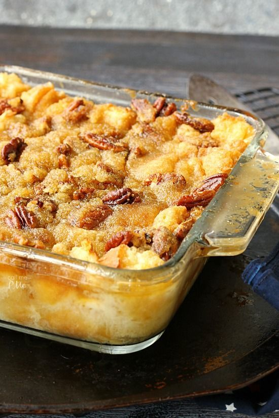 Pecan Pie Bread Pudding with self-made caramel sauce. Pecan Pie Bread Pudding is actually Pecan Pie without the crust. Instead it's poured over a delicious bread pudding and baked to perfection!