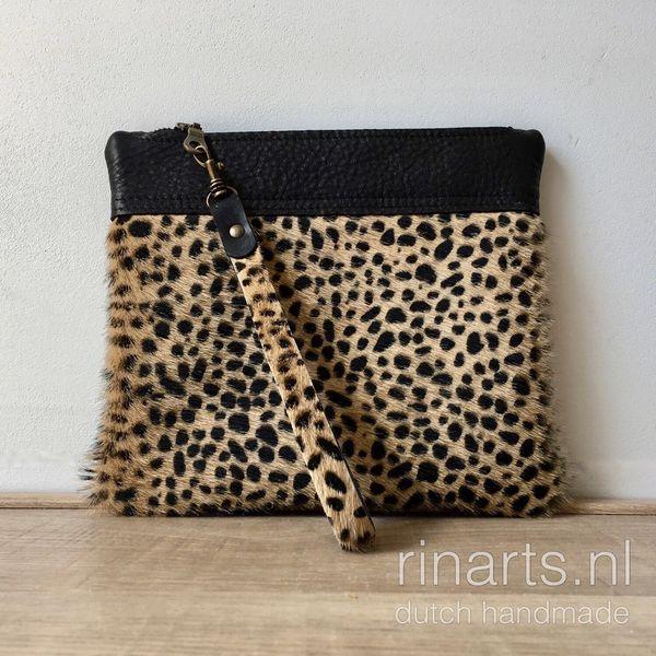 Cheetah print hair on hide wristlet