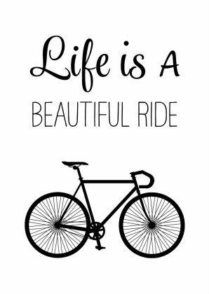 Hippe zwart wit verjaardagskaart met een racefiets en de tekst Life is a Beautiful Ride. Voor een sportieve jarige. Hip, modern en een beetje retro.