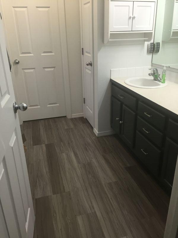 TrafficMASTER Allure   6 in. x 36 in. Dove Maple Resilient Vinyl Plank Flooring  Glidden® Trim, Door & Furniture Paint