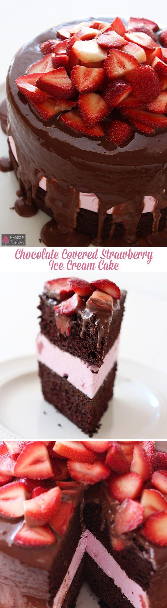 Homemade Chocolate Covered Strawberry Ice Cream Cake