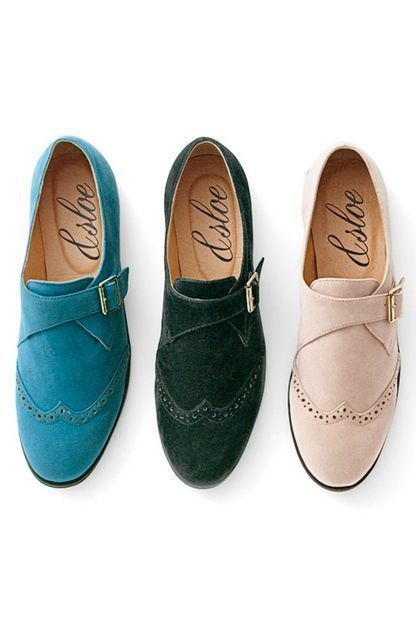 Suede shoes with original side closure