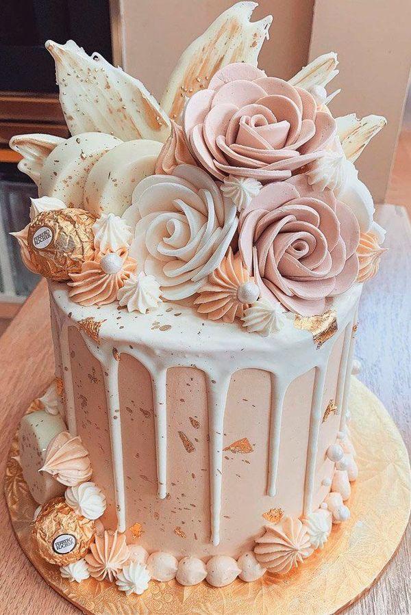 24 Outstanding Fondant Flower Wedding Cakes ❤ fondant wedding cake beige roses #weddingforward #wedding #bride