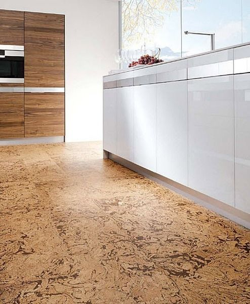 Cork can be used in virtually any space - here a fabulous kitchen installation. baby green