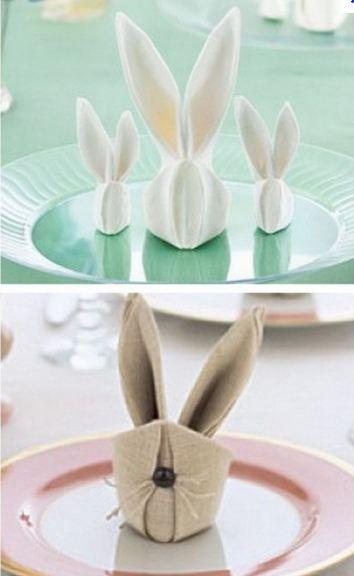 pliage de serviettes en forme doreilles de lapin