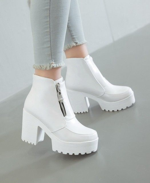White Leather Boots Platform Ziper