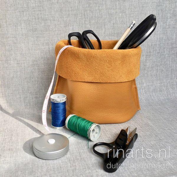 Yellow leather storage basket