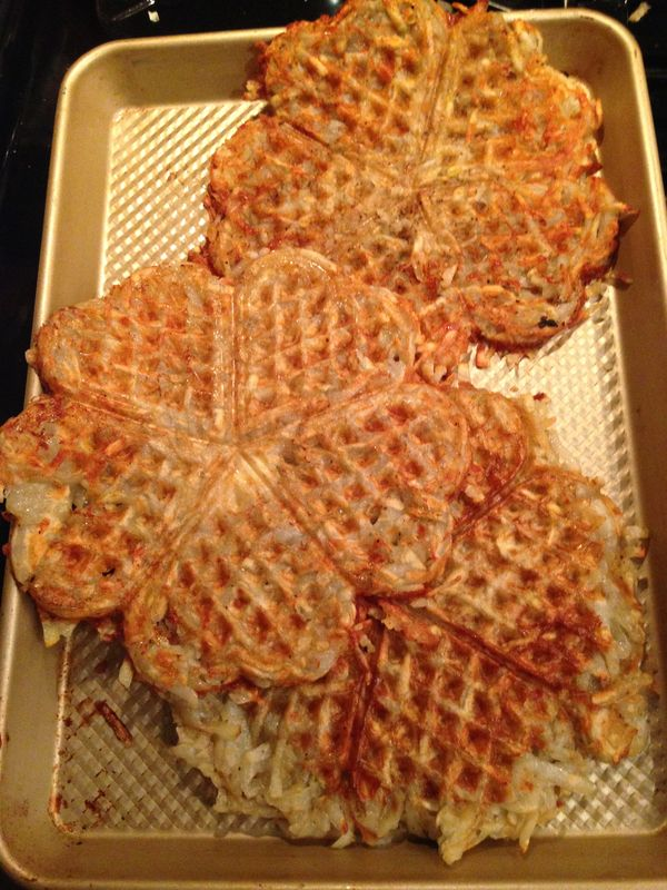 wonderful roschti potato pancake cooked in the waffle iron