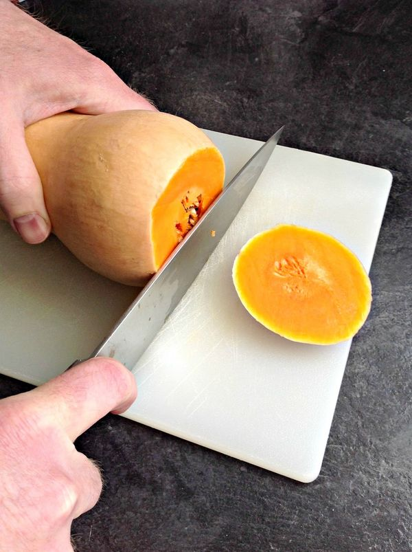 How to cut, peel, boil and puree butternut squash which are low in fat, and high in dietary fiber, potassium, vitamin B6 and folate!