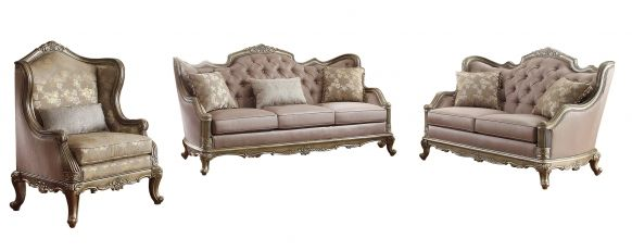 Fiorella Old World Silver Gold Wood Faux Silk Living Room Set