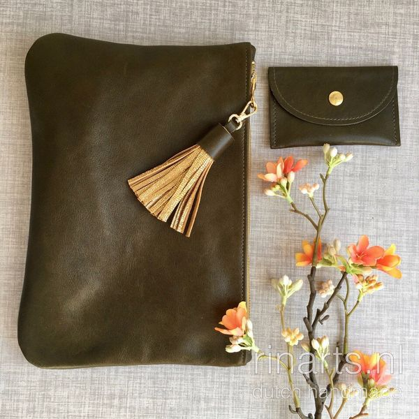 Olive green leather clutch