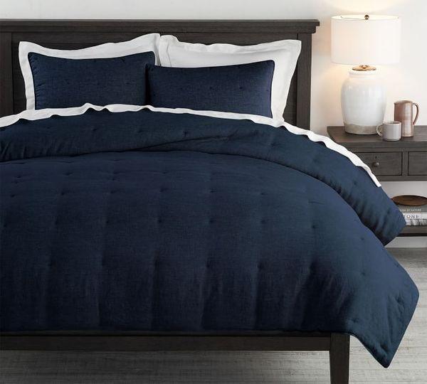 Belgian Flax Linen Comforter - Flax | Pottery Barn