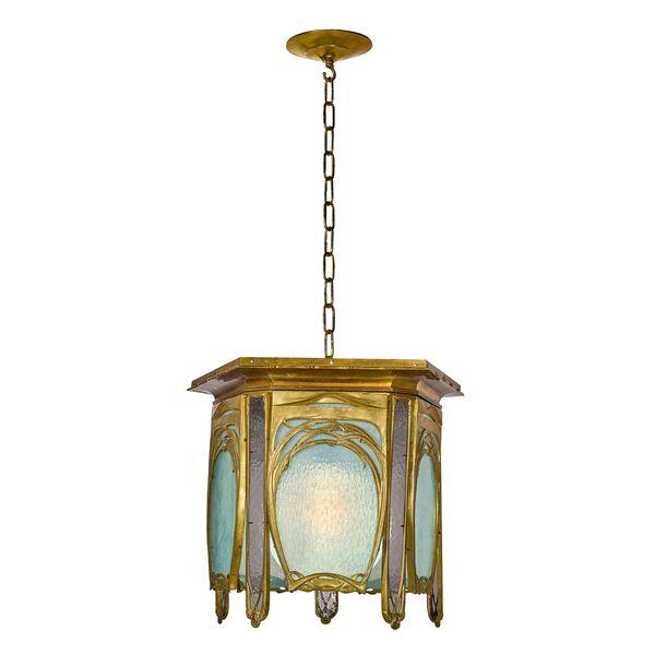 Galleria Macklowe | Lampadario a lanterna in bronzo dorato e vetro di Hector Guimard (attribuito) - Galleria Macklowe