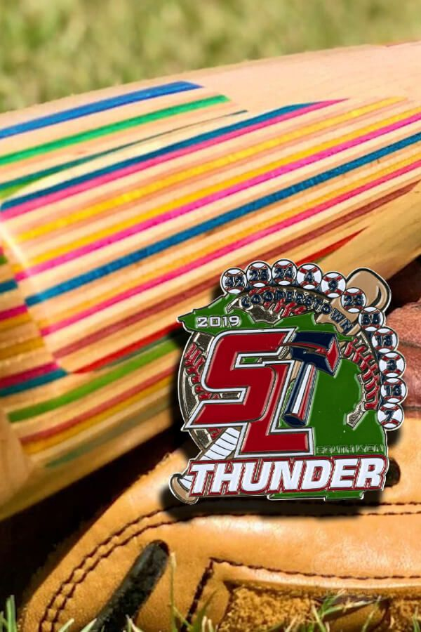 Heres a pin weve created for the South Lyon Thunder Travel Baseball team in 2019. Work with us, and lets make your Cooperstown Trading Pin a reality!
