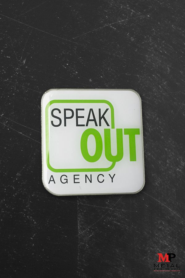 Lapel pins are a great way to market your business or agency! Check out this one we created for Speak Out Agency with their logo and colors. Check out more corporate pins we have created in the past on our website.
